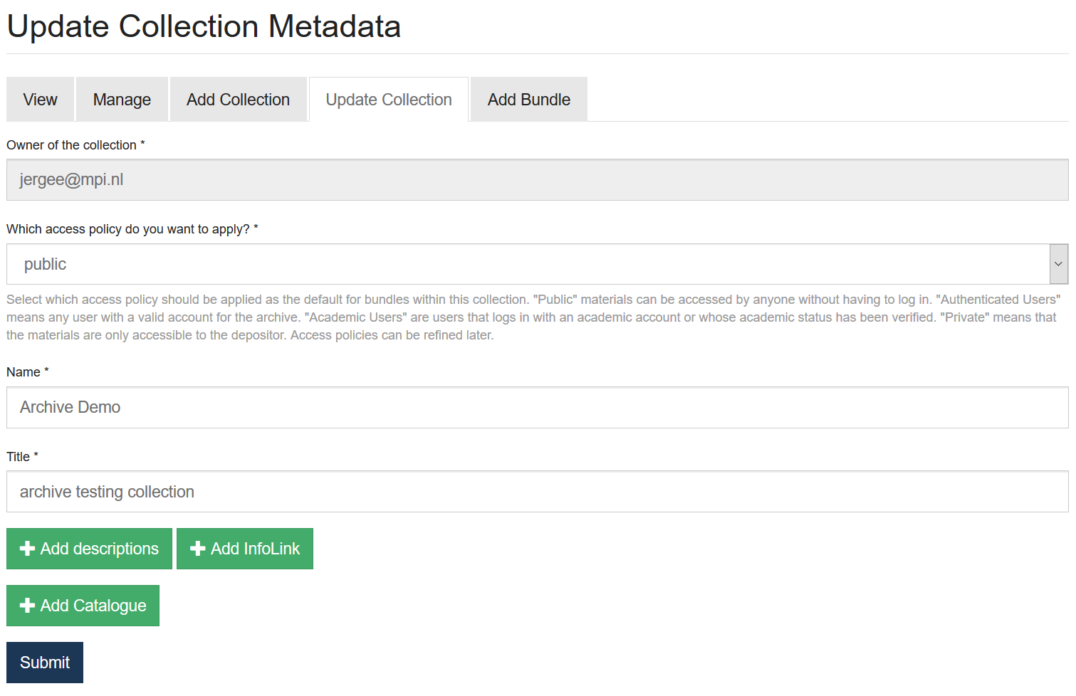 Update Collection metadata